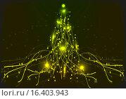 Рождественская елка, желтый неон. Стоковая иллюстрация, иллюстратор Фёдор Мешков / Фотобанк Лори