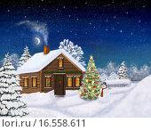Новый год. Рождество. Домик в лесу. Стоковая иллюстрация, иллюстратор Такшина Людмила Сергеевна / Фотобанк Лори