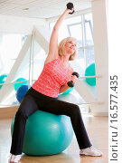 Woman Using Hand Weights On Swiss Ball At Gym. Стоковое фото, фотограф Stockbroker / easy Fotostock / Фотобанк Лори