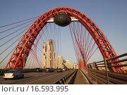 Купить «Живописный вантовый мост в Москве», фото № 16593995, снято 20 октября 2015 г. (c) Яременко Екатерина / Фотобанк Лори
