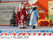 Купить «Дед Мороз и Снегурочка на сцене», фото № 16686259, снято 19 декабря 2015 г. (c) Анатолий Матвейчук / Фотобанк Лори