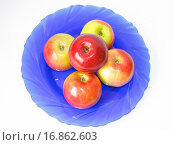 Купить «Синее блюдо с яблоками», фото № 16862603, снято 21 декабря 2015 г. (c) Алексей Ларионов / Фотобанк Лори