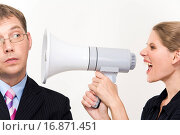 Купить «Close_up of young furious woman screaming at her boss through megaphone», фото № 16871451, снято 24 августа 2019 г. (c) easy Fotostock / Фотобанк Лори