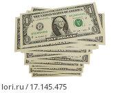 Купить «Доллары на белом фоне», эксклюзивное фото № 17145475, снято 22 декабря 2015 г. (c) Юрий Морозов / Фотобанк Лори