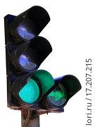 Купить «Зеленый сигнал светодиодного светофора с дополнительной секцией. Изолировано на белом фоне.», фото № 17207215, снято 18 июля 2015 г. (c) Александр Степанов / Фотобанк Лори