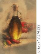 Оливковое масло с перцем и помидорами. Стоковое фото, фотограф Инна Киреенок / Фотобанк Лори
