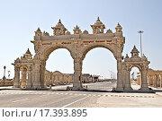 Купить «Дварка. Ворота набережной», фото № 17393895, снято 10 февраля 2015 г. (c) Вячеслав Беляев / Фотобанк Лори