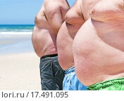 Купить «Close up of three obese fat men of the beach», фото № 17491095, снято 9 декабря 2017 г. (c) easy Fotostock / Фотобанк Лори
