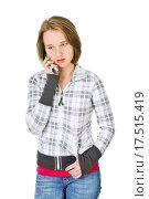 Купить «Teenage girl talking on phone», фото № 17515419, снято 4 апреля 2020 г. (c) easy Fotostock / Фотобанк Лори