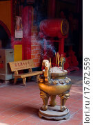 Купить «Interior of Chinese temple in Vietnam», фото № 17672559, снято 12 июля 2020 г. (c) easy Fotostock / Фотобанк Лори