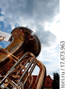brass tuba outdoors on a cloudy day. Стоковое фото, фотограф Bernd Jürgens / easy Fotostock / Фотобанк Лори