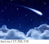 Купить «shooting star through clouds», фото № 17705115, снято 17 июня 2019 г. (c) easy Fotostock / Фотобанк Лори