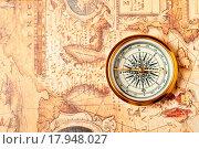 Купить «Old compass on ancient map», фото № 17948027, снято 16 июля 2019 г. (c) easy Fotostock / Фотобанк Лори