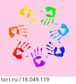 Купить «Colourful prints of human hands», фото № 18049119, снято 25 мая 2019 г. (c) easy Fotostock / Фотобанк Лори