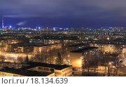 Ночной вид на Ново-Южный район города Чебоксары, фото № 18134639, снято 25 декабря 2015 г. (c) Александр Якимов / Фотобанк Лори