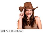 Купить «Sexy cowgirl smiling and tapping her hat», фото № 18346671, снято 15 ноября 2018 г. (c) easy Fotostock / Фотобанк Лори