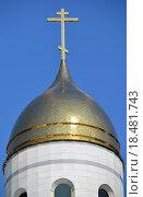 Купить «Купол храма Христа Спасителя на фоне неба. Калининград», фото № 18481743, снято 11 апреля 2015 г. (c) Ирина Борсученко / Фотобанк Лори
