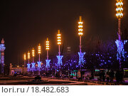 Купить «Центральная аллея ВДНХ в новогоднюю ночь», фото № 18482683, снято 1 января 2016 г. (c) Алёшина Оксана / Фотобанк Лори