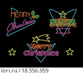 Купить «Merry christmas vintage set label neon light sign», фото № 18556959, снято 27 апреля 2018 г. (c) PantherMedia / Фотобанк Лори