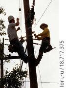 Купить «Linemen on utility pole», фото № 18717375, снято 7 июня 2020 г. (c) easy Fotostock / Фотобанк Лори