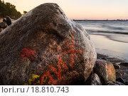 Камни на берегу Финского залива ранней зимой. Стоковое фото, фотограф Игорь Акимов / Фотобанк Лори