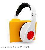 Купить «3d headphones with musci folder», фото № 18871599, снято 22 августа 2018 г. (c) easy Fotostock / Фотобанк Лори