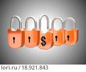 Купить «Padlocks concept: US dollar currency safety», фото № 18921843, снято 20 апреля 2019 г. (c) easy Fotostock / Фотобанк Лори