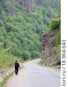 Человек идет по обочине дороги в ущелье весной на Кавказе. Стоковое фото, фотограф Сергей Серебряков / Фотобанк Лори