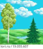 Купить «Picture, summer landscape», фото № 19055607, снято 22 февраля 2019 г. (c) easy Fotostock / Фотобанк Лори
