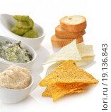 Купить «Dips With Chips And Toasts», фото № 19136843, снято 19 февраля 2020 г. (c) easy Fotostock / Фотобанк Лори