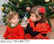 Купить «Маленькая девочка в испанском костюме показывает годовалой сестренке игрушку около новогодней елки», фото № 19144711, снято 6 января 2016 г. (c) Ирина Борсученко / Фотобанк Лори