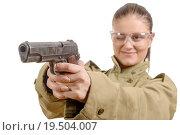 Купить «young woman with protective goggles holding a gun», фото № 19504007, снято 26 мая 2020 г. (c) PantherMedia / Фотобанк Лори