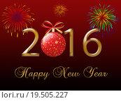 Купить «2016 Happy New Year greeting card », фото № 19505227, снято 19 марта 2019 г. (c) PantherMedia / Фотобанк Лори