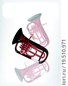 A Musical Euphonium with A White Banner. Стоковое фото, фотограф Iamnee / easy Fotostock / Фотобанк Лори