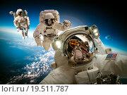 Купить «Astronaut in outer space», фото № 19511787, снято 9 февраля 2013 г. (c) Андрей Армягов / Фотобанк Лори