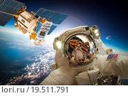 Купить «Astronaut in outer space», фото № 19511791, снято 9 февраля 2013 г. (c) Андрей Армягов / Фотобанк Лори