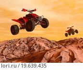 Купить «Quads in the desert - 3D render», фото № 19639435, снято 4 ноября 2011 г. (c) easy Fotostock / Фотобанк Лори