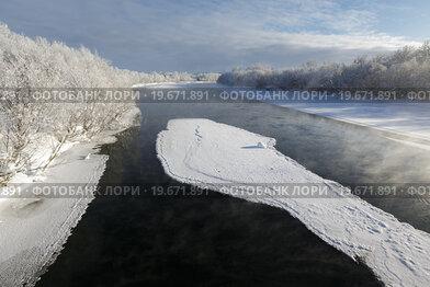 Зимний вид на реку Камчатку (2016 год). Стоковое фото, фотограф А. А. Пирагис / Фотобанк Лори