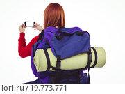 Купить «Smiling hipster woman with a travel bag», фото № 19773771, снято 5 июня 2015 г. (c) Wavebreak Media / Фотобанк Лори