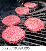 Купить «tasty beef burgers on the grill», фото № 19824095, снято 22 апреля 2019 г. (c) easy Fotostock / Фотобанк Лори