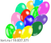 Воздушные разноцветные шары на белом фоне. Стоковая иллюстрация, иллюстратор Юлия Цигун / Фотобанк Лори