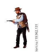 Купить «Gunman in the old wild west on white background», фото № 19962131, снято 14 марта 2013 г. (c) easy Fotostock / Фотобанк Лори