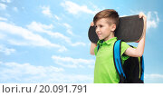 happy student boy with backpack and skateboard. Стоковое фото, фотограф Syda Productions / Фотобанк Лори