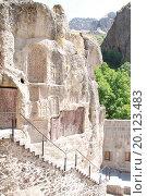 Купить «Хачкары на скале в монастырском комплексе Гегард. Армения», фото № 20123483, снято 15 августа 2015 г. (c) Emelinna / Фотобанк Лори