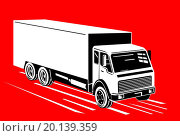 Купить «illustration of a container truck lorry done in retro style on isolated background», иллюстрация № 20139359 (c) easy Fotostock / Фотобанк Лори