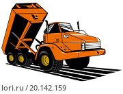 Купить «illustration of a dumper tipper truck lorry done in retro style on isolated background», иллюстрация № 20142159 (c) easy Fotostock / Фотобанк Лори