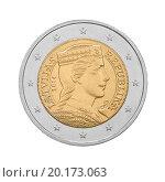 Купить «Монета 2 евро Латвии. Обратная сторона», фото № 20173063, снято 7 октября 2015 г. (c) Александр Макаров / Фотобанк Лори