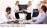 Купить «Positive brainstorming in office», фото № 20226711, снято 1 января 2019 г. (c) Яков Филимонов / Фотобанк Лори
