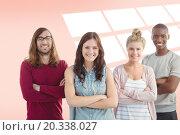 Купить «Composite image of portrait of smiling business team with arms crossed», фото № 20338027, снято 20 мая 2019 г. (c) Wavebreak Media / Фотобанк Лори