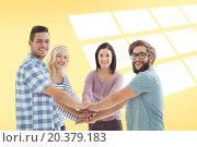 Купить «Composite image of portrait of smiling business people putting their hands together», фото № 20379183, снято 5 июня 2020 г. (c) Wavebreak Media / Фотобанк Лори